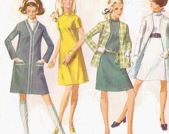 1960s Simplicity Sewing Pattern 7991 Womens Mod Shift Dress, Cardigan Coat & Cardigan Jacket Size 18 Bust 40 DIY Vintage 60s Patterns