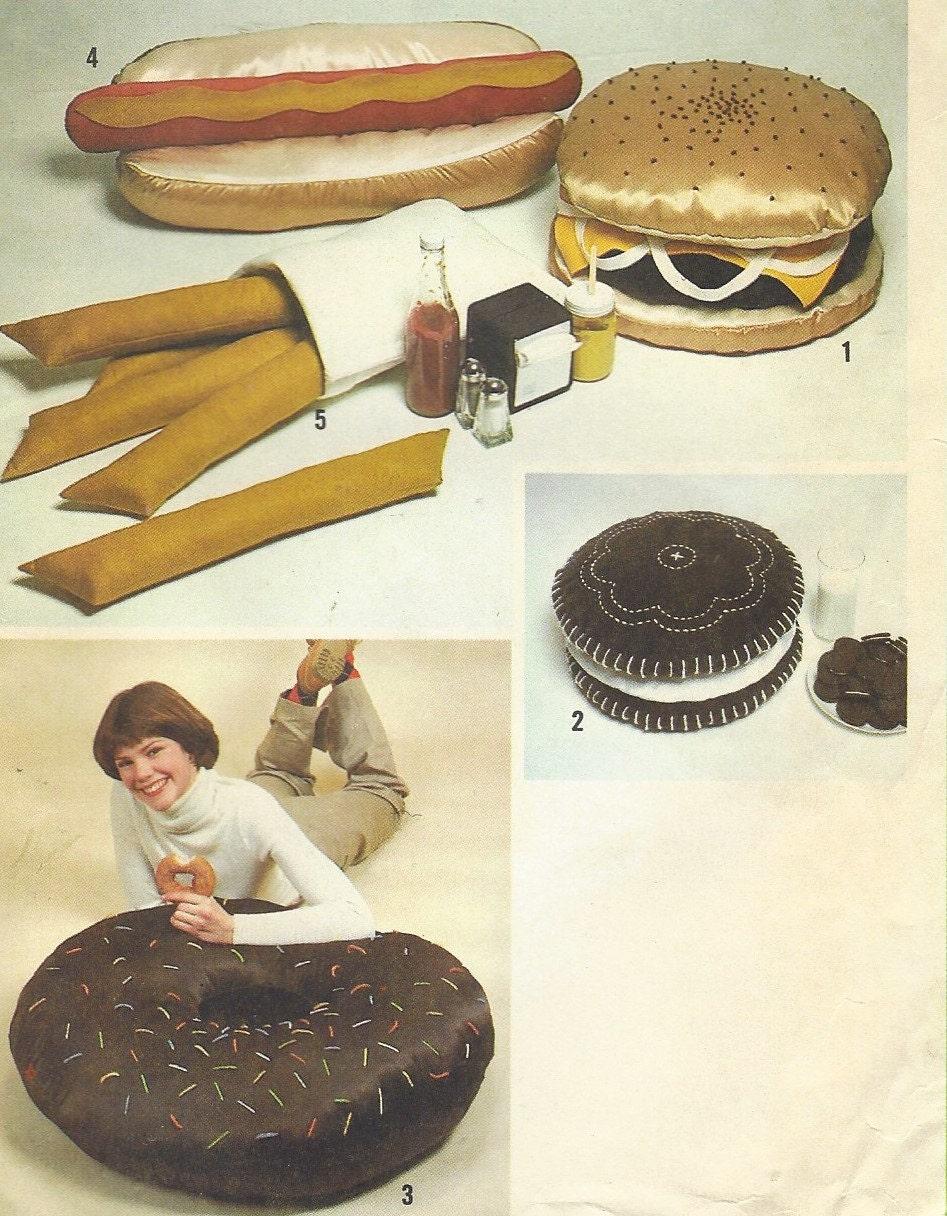 1970er Jahre Junk-Food Kissen Paket Hamburger Kissen Hotdog