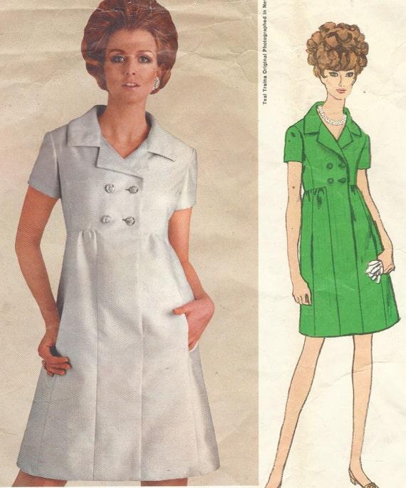 efc35f925c 1960s Teal Traina Womens One Piece Dress Empire Waist Vogue