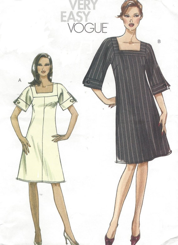 Womens Lined A Line Dress Square Neckline Sleeve Variations OOP Vogue Sewing Pattern V8442 Size 6 8 10 12 Bust 30 12 to 34 FF