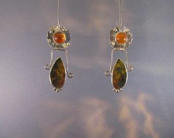 E50013 Carneilan and Fossil Fern Earrings