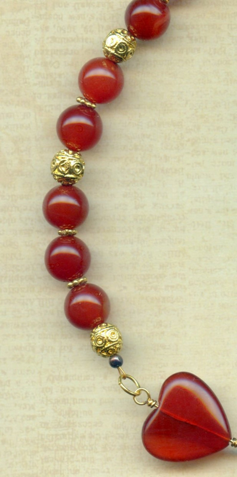 Carnelian Hearts Necklace