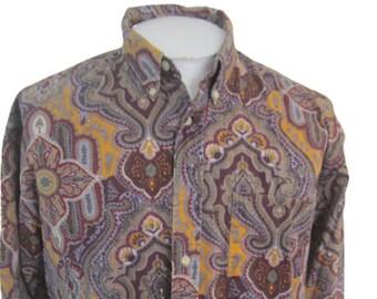 Vintage Blouse Paisley Cotton India Style Olive Hippie Top Size Medium