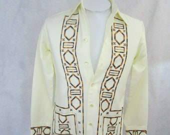 a236c24f Jayson vintage 1970s disco Men Shirt GUAYABERA Mexican Wedding S  embroidered Latin / cabana pockets long sleeve