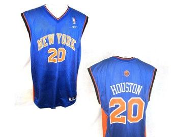 5683bbbfd REEBOK Men sport jersey New York Knicks basketball Allan Houston  20 NBA  logo vintage size XL poly blue orange