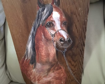 Vintage  Horse Painted on a Wooden Shingle