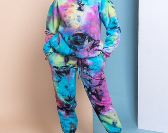 Pastel Goth Black Tie Dye Organic Cotton Sweatsuit - Joggers and Sweatshirt Ethically Made in Canada Super Soft Crewneck Unique Look