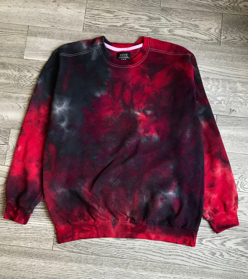 f6bf34493340 Red Acid Tie Dye Sweater grunge goth xl black tie dye mens | Etsy