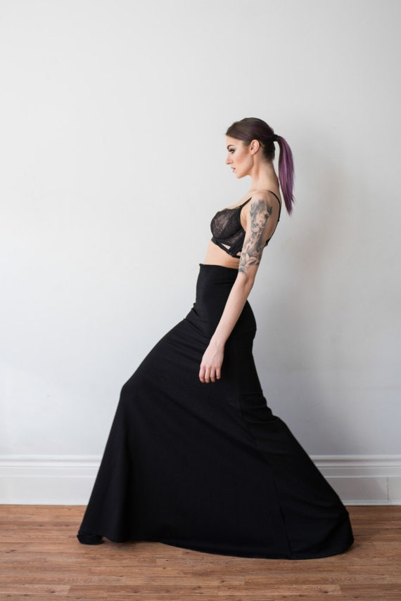 Black Fitted Mermaid High Waisted Maxi Skirt Custom Made For Parties Gala And Events Steampunk by Etsy