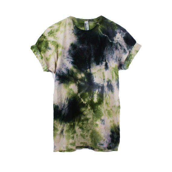 Grunge Black Shirt, tie dye style top, 90s grunge tee, tie dye shirts men,  festival wear mens, boho gypsy clothing, expensive tie dye, green