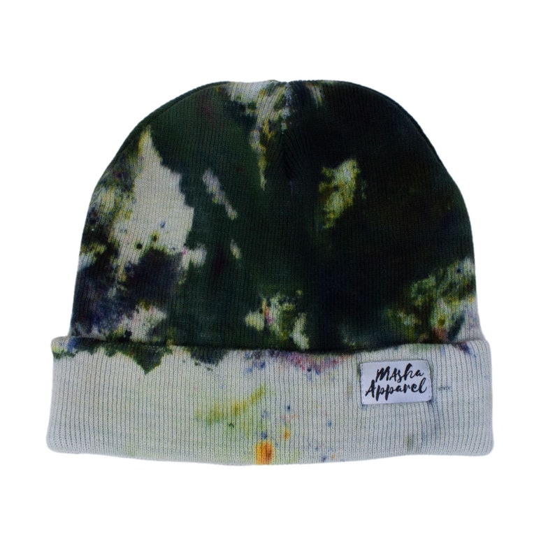 One of  a kind black and green Tie Dye Beanie 100/% Cotton Hat