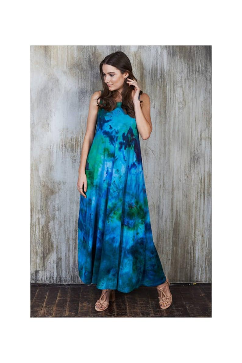 Aqua Maxi Dress, Hippie Plus Size Maxi Dress, Blue Tie Dye Maxi Dress,  Floral Blue Plus Size Maxi Dress, Boho Beach Blue Maxi Dress