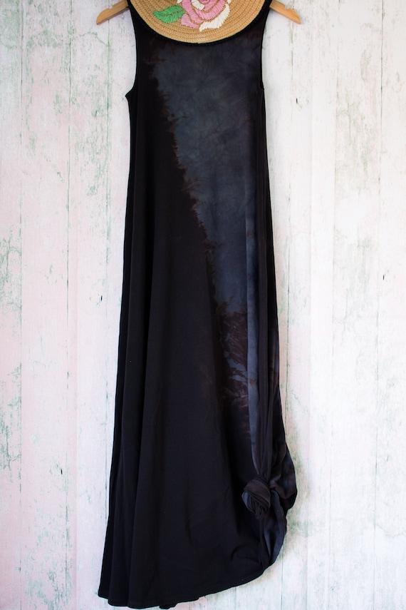 Black Tie dye floral Maxi Dress Size M, boho dress plus size organic cotton  hippie clothes beach wedding dress bohemian floral