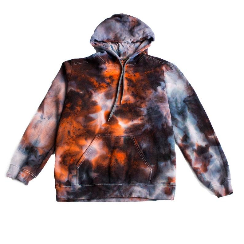 2602f730bb935 Orange Flare Tie Dye Hoodie, grunge goth xl black tie dye mens Masha  Apparel sweatshirt aesthetic apparel ladies kayne shirt plus size
