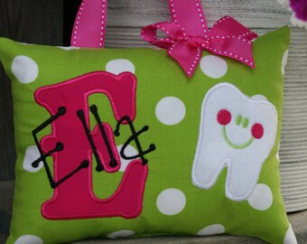 Tooth Fairy Pillow Girls Personalized Boutique Custom Made Polka Dots