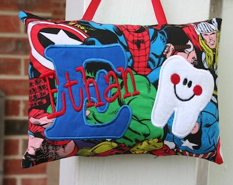 Superhero Tooth Fairy Pillow for Boys - Personalized - Superhero - Christmas Gift - Birthday Gift - Baby Gift - Spider-Man - Ring Bearer