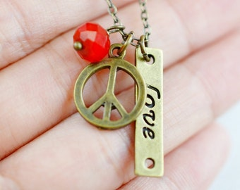 World peace necklace etsy peace sign charm necklace peace jewelry delicate necklace dainty necklace love peace symbol pendantmodern jewelry world peace bff aloadofball Image collections