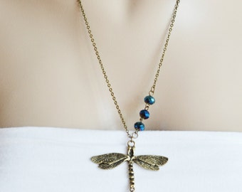 patina dragonfly necklace, bridesmaid gift, christmas gift idea, long necklace, graduation gift, nature necklace, new mom gift, insect bug