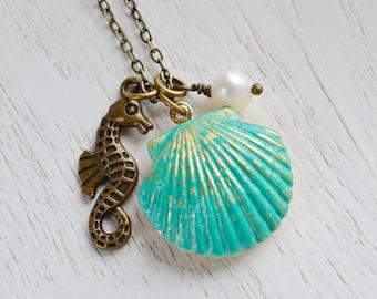 SeaShell Locket Pendant, Patina Jewelry, Patina Mermaids SeaShell Locket, SeaHorse Necklace, Locket Necklace, Ocean Inspired, Nautical, Clam