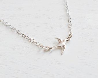 Bird Necklace, Sparrow Bird Jewelry, Simple Swallow Bird Necklace, Silver Bird Necklace, Petite Sparrow, Everyday Jewelry, Dainty Bird Charm
