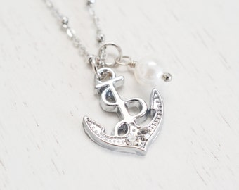 silver anchor necklace, bridesmaid gift, nautical style, anchor jewelry, sailor, bridesmaid gift, best friend neklace, matching couple gift