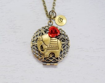 elephant locket, custom locket, red rose, bff gift, lucky elephant jewelry, initial locket, personalized couples locket, Bridesmaid Gift