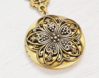 locket necklace, whimsical romantic gift, couple locket, bridesmaid wedding gift, filigree flower locket, photo locket, layering necklace