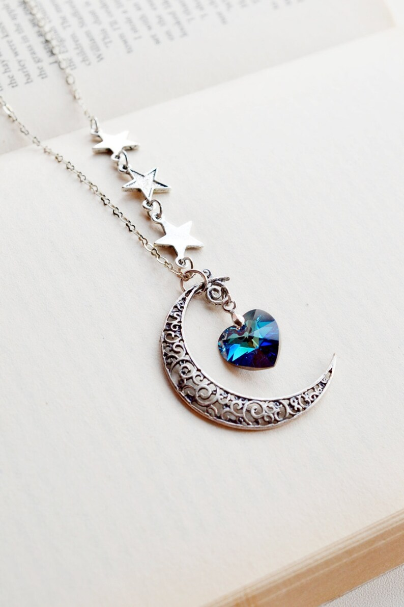 Crescent Moon and Star Necklace Moon Necklace Astrology  c7417665be3