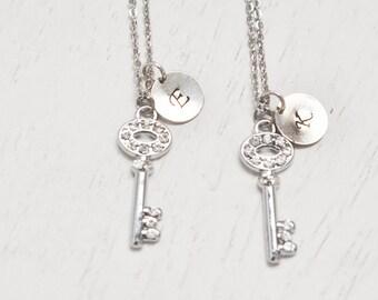 silver key necklace, couples necklace, best friend necklace, bridesmaid necklace, skeleton key pendant, friendship symbol, matching couple