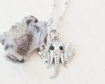 silver elephant necklace, lucky elephant jewelry, silver necklace ,geode agate, irregular shape agate stone jewelry, druzy agate, christmas