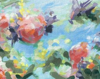 Floral Wall Art, Through the Roses print, flower garden wall art, pink and blue, botanical print, rose art print, pink flower, abstract