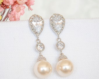Bridal Earrings, Crystal Wedding Earrings, Swarovski Pearl Drop Bridal Earrings, Dangle Earrings, Teardrop Earrings, Wedding Jewelry, CHERYL