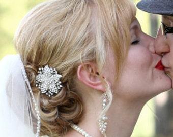 Bridal Hair Clip, Crystal Wedding Hair Clip, Rhinestone Hair Accessories, Crystal Flower Hair Pin, Vintage Style Bridal Hair Clip, JULIENNE