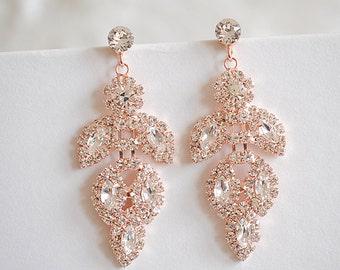 50% OFF SALE, Rose Gold, Silver, Bridal Earrings, Chandelier Wedding Earrings, Leaf Dangle Earrings, Art Deco Bridal Jewelry, JOCASTA