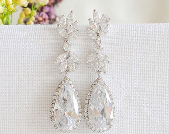 Bridal Earrings, Wedding Earrings, Crystal Leaf Dangle Earrings, Drop Earrings, CZ Teardrop Earrings, Vintage Style Wedding Jewelry, CAMRYN