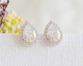 Bridal Earrings, Teardrop Stud Earrings, Wedding Earrings, Crystal Stud Earrings, Rose Gold, Gold, Bridal Wedding Jewelry, Bridesmaids, ANYA