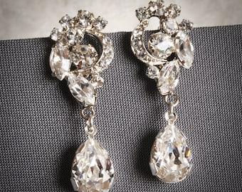 VALORA, Swarovski Crystal Bridal Earrings, Bridal Earrings, Vintage Style Wedding Dangle Earrings, Art Deco Bridal Earrings, Wedding Jewelry