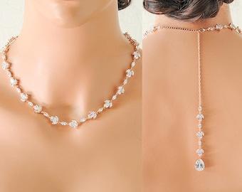 Rose Gold Back Drop Bridal Necklace, Wedding Back Necklace, Backdrop Necklace,Crystal Teardrop Necklace,Leaf Necklace,Bridal Jewelry, KAILIN