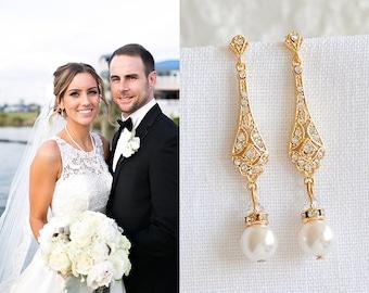 Gold Wedding Bridal Earrings, Crystal Bridal Earrings, Swarovski Pearl Drop Dangle Earrings, Old Hollywood Wedding Bridal Jewelry, TRISSIE