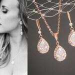 Rose Gold Wedding Jewelry SET, Crystal Bridal Jewelry Set, Wedding Earrings, Bridal Earrings, Pendant Necklace, CZ Teardrop Necklace, CELENA