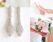 Bridal Earrings, Crystal Wedding Earrings, Art Deco Dangle Drop Earrings, Vintage Style Wedding Bridal Jewelry, Rose Gold Earrings, REGINA