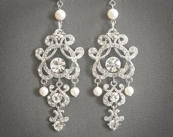Wedding Earrings, Swarovski Pearl and Crystal Bridal Earrings, Silver Filigree Chandelier Earrings, Vintage Style Wedding Jewelry, HERA