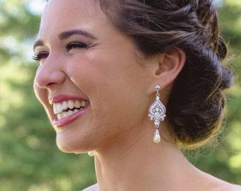 Bridal Earrings, Wedding Earrings, Swarovski Pearl and Rhinestone Chandelier Earrings,Rose Gold,Gold,Victorian Wedding Bridal Jewelry, GRACE