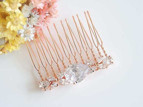 Clover Leaf Hair Clip Wedding Hair Comb Crystal Headpiece HARRIET Bridal Hair Jewelry Rose Gold Bridal Hair Comb Teardrop Hairpin