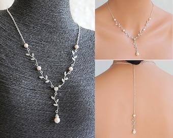 Bridal Necklace, Vintage Style Wedding Jewelry, Crystal Leaf Vine Y Necklace, Swarovski Pearl Backdrop Necklace, Back Drop Necklace, KACEY