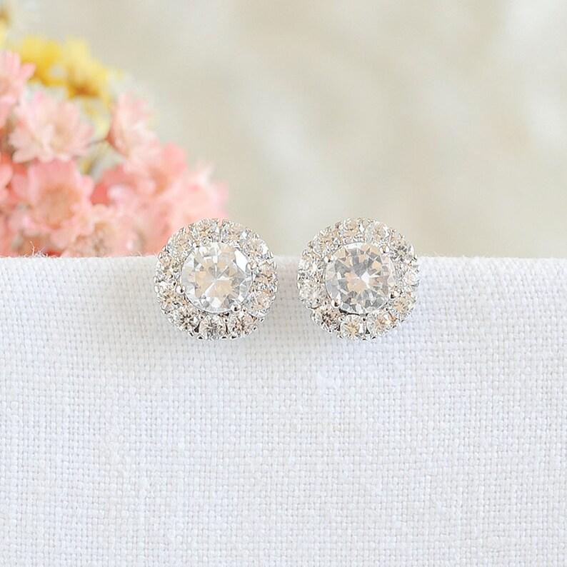 8165ea972 Round Halo Stud Earrings Crystal Bridal Earrings Wedding   Etsy