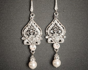 Wedding Earrings, Victorian Style Bridal Earrings, Swarovski Crystal and Pearl Dangle Earrings, Bridal Chandelier Rhinestone Earrings, GRACE