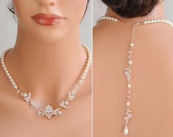 Rose Gold Back Drop Wedding Necklace, Backdrop Bridal Necklace, Crystal Flower Leaf Vine Necklace, Swarovski Pearl Bridal Necklace, TIMOTHEA