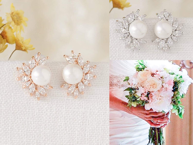 9b9ca0177 Rose Gold Bridal Stud Earrings Crystal Marquise Wedding | Etsy