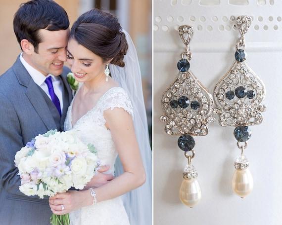 a97883aef4dae Blue Bridal Earrings, Crystal Wedding Earrings, Swarovski Pearl Dangle  Earrings, Chandelier Wedding Drop Earrings, Bridal Jewelry, GRACE